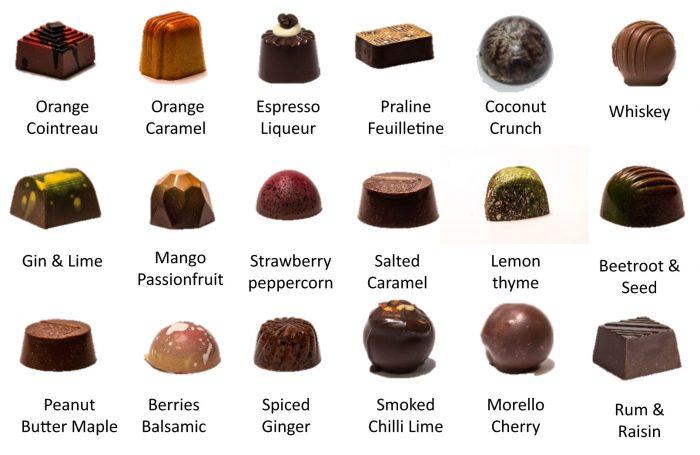 Handcracfted chocolates selection menu