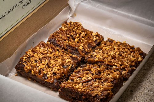 salted caramel almond gluten free brownies