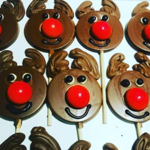 Rudolph the Reindeer chocolate lollipops